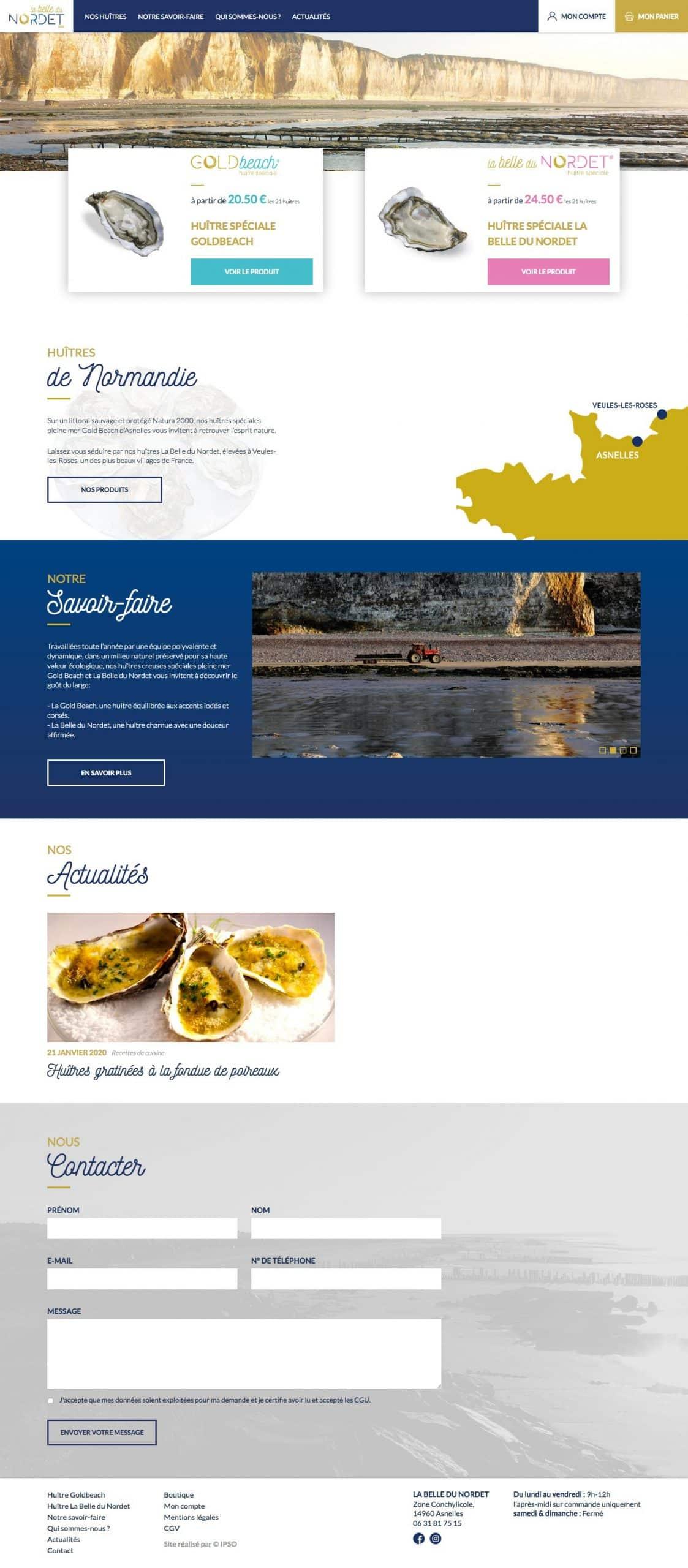 Aperçu de la page d'accueil La Belle du Nordet
